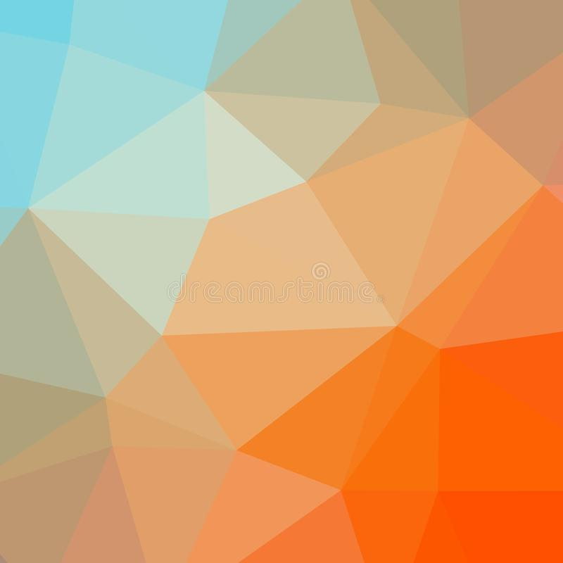 Ilustração da baixos laranja do sumário e fundo polis do quadrado do aqua ilustração do vetor