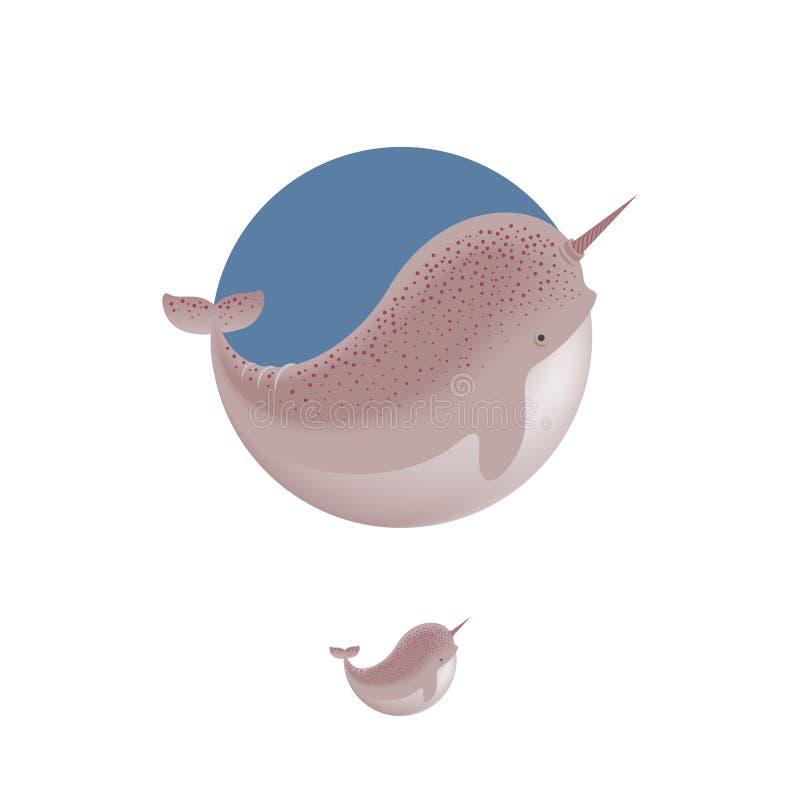 Ilustração da baleia do narval Ícone de Narwhale Emblemas do animal do oceano ilustração royalty free