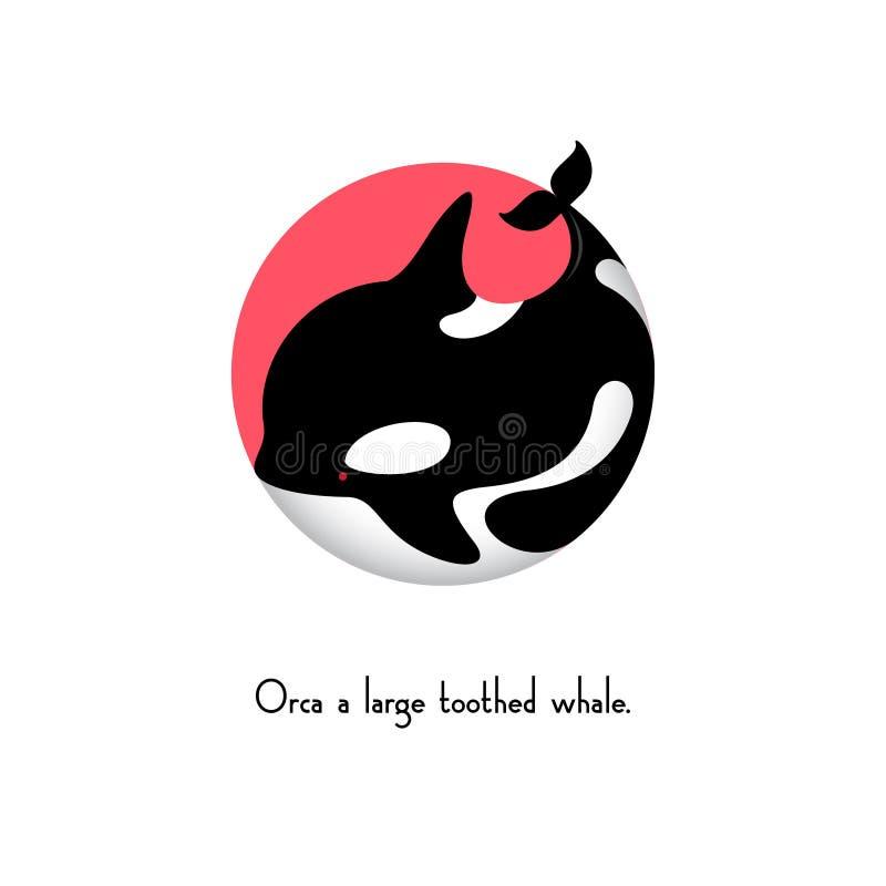 Ilustração da baleia da orca Ícone da orca Emblemas do animal do oceano ilustração do vetor