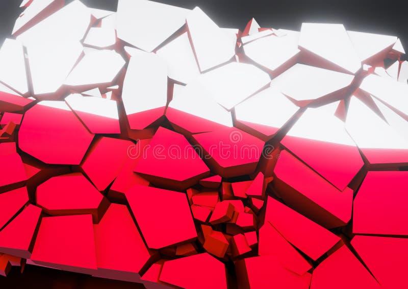 Ilustração da bandeira 3d do polonês do colapso do estado rendida ilustração stock