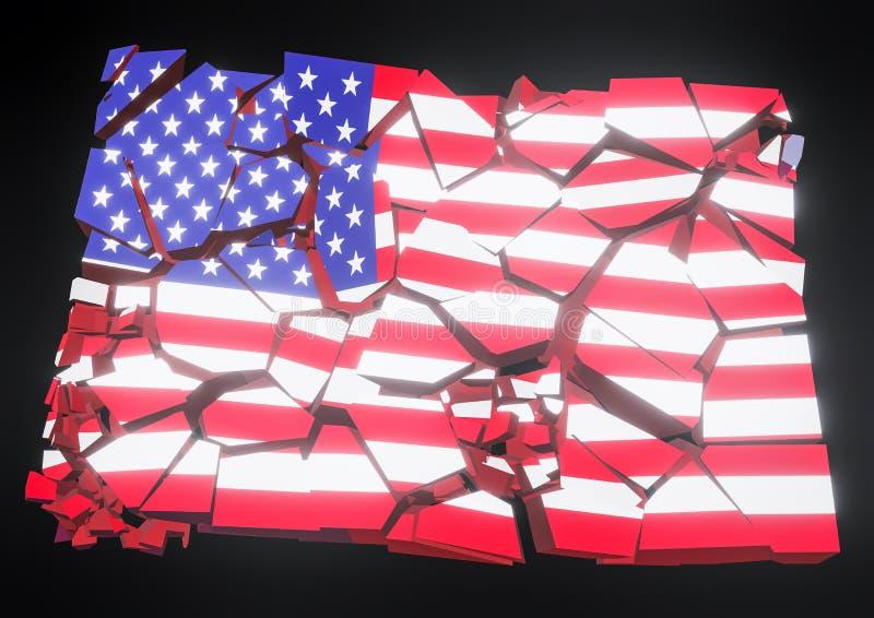 Ilustração da bandeira 3d dos EUA do colapso do estado rendida ilustração do vetor