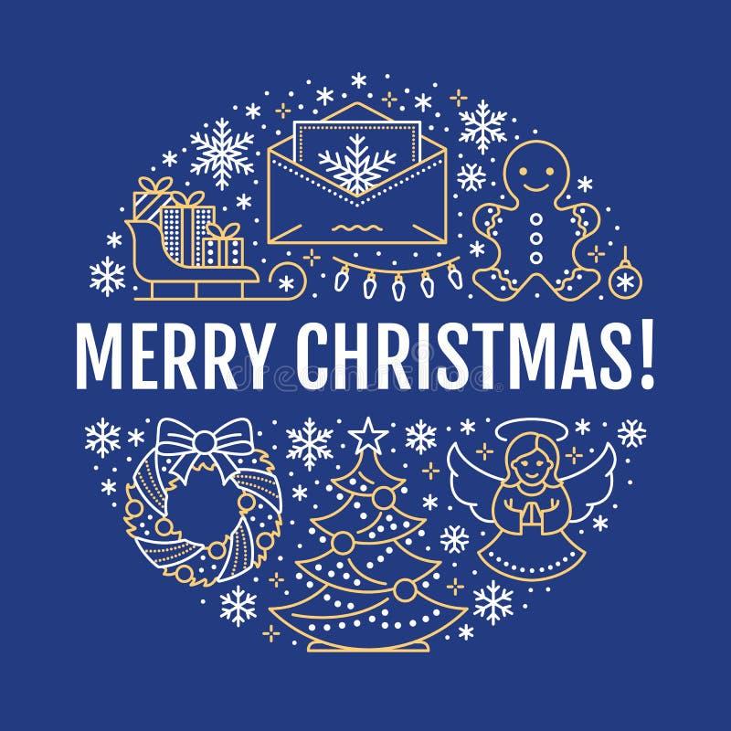 Ilustração da bandeira do ano novo do Feliz Natal Vector a linha ícone de árvore de Natal dos feriados de inverno, presentes, anj ilustração do vetor
