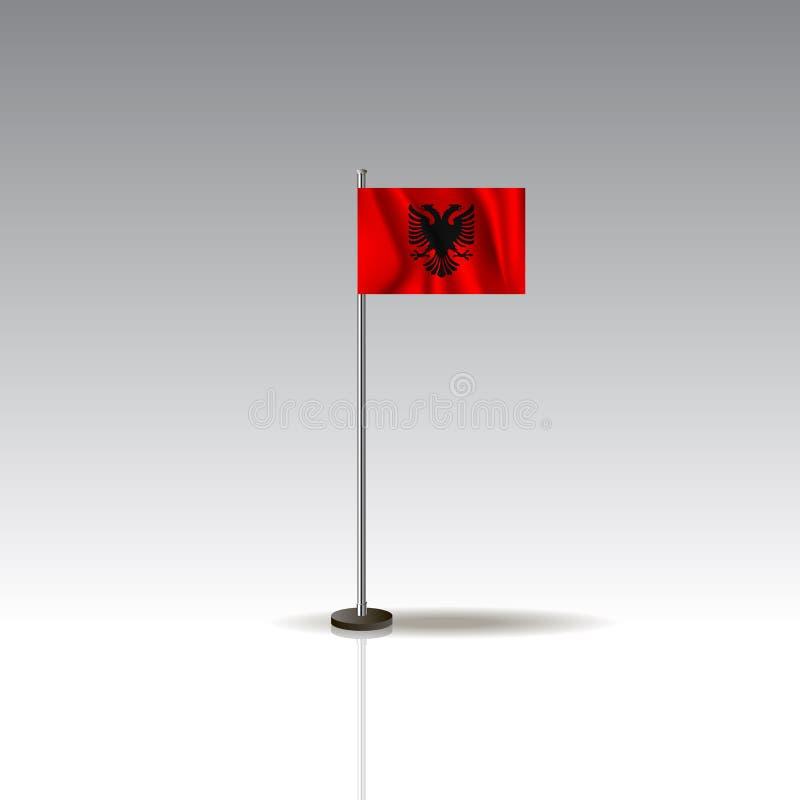 Ilustração da bandeira do país de Albânia Bandeira nacional de Albânia no fundo cinzento ilustração royalty free