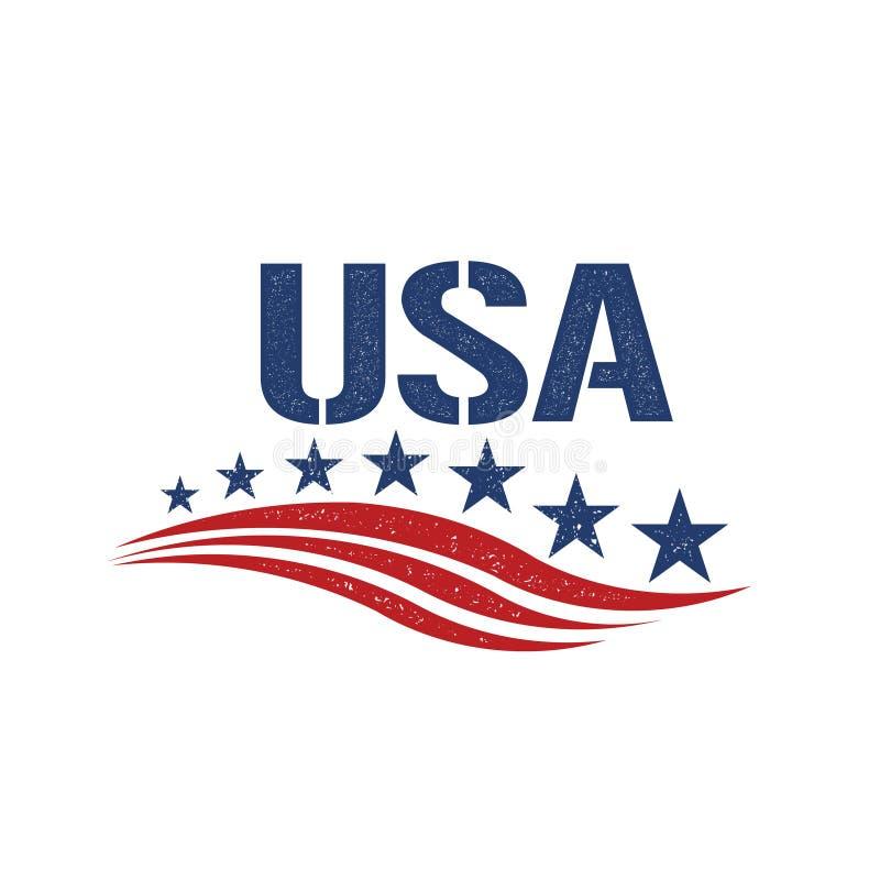 Ilustração da bandeira dos Estados Unidos dos EUA do vintage ilustração royalty free