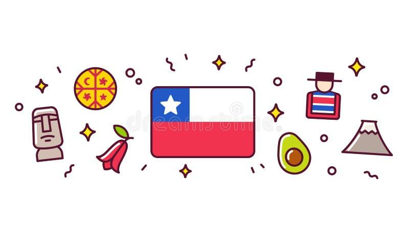 Ilustração da bandeira dos símbolos do Chile ilustração royalty free