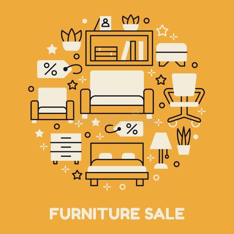 Ilustração da bandeira da venda da mobília com linha lisa ícones Cartaz interior da loja Sala de visitas, quarto, cadeira do escr ilustração stock