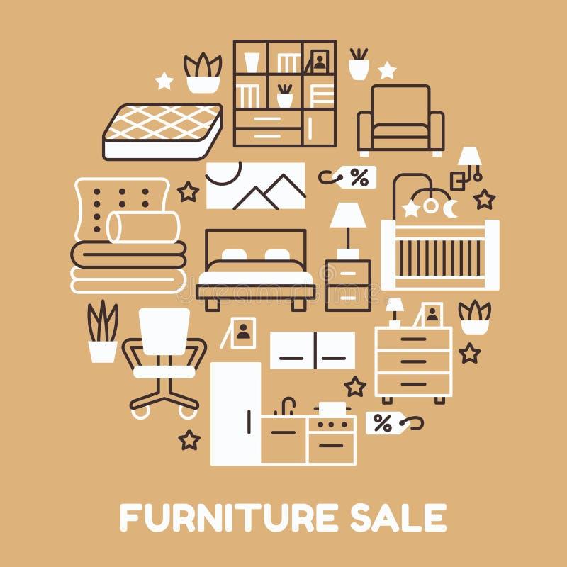 Ilustração da bandeira da venda da mobília com linha lisa ícones Cartaz interior da loja com sala de visitas, quarto, escritório  ilustração royalty free