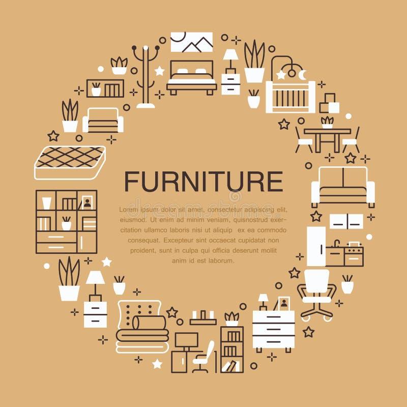 Ilustração da bandeira da venda da mobília com linha lisa ícones Sala de visitas, quarto, cadeira do escritório domiciliário, coz ilustração stock