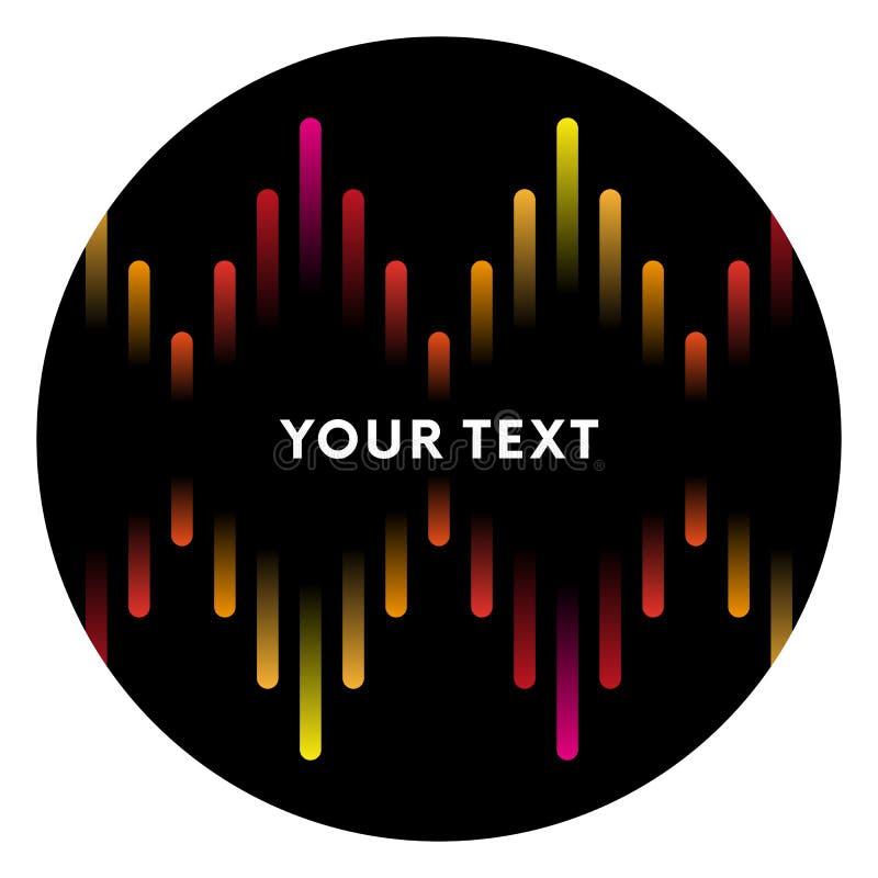 Ilustração da barra musical colorida que mostra o volume etiqueta Fundo colorido das ondas sadias do equalizador da música Ilustr ilustração stock