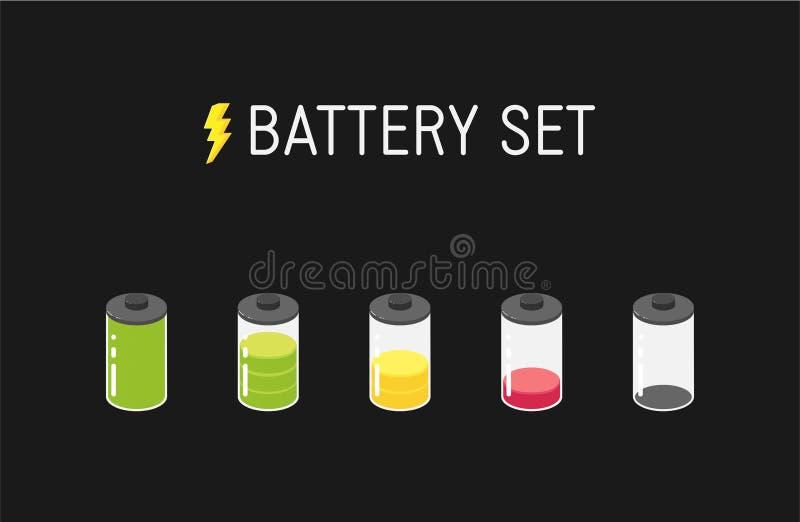 Ilustração da bateria do vetor Grupo de cinco ícones diferentes De completamente a vazio ilustração do vetor