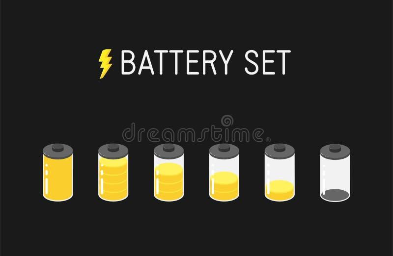 Ilustração da bateria do vetor Grupo de seis ícones amarelos De completamente a vazio ilustração stock