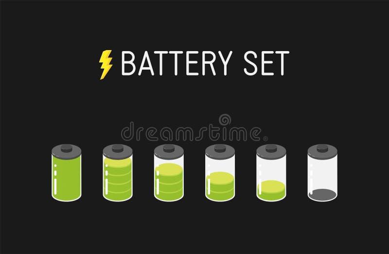 Ilustração da bateria do vetor Grupo de seis ícones verdes De completamente a vazio ilustração royalty free