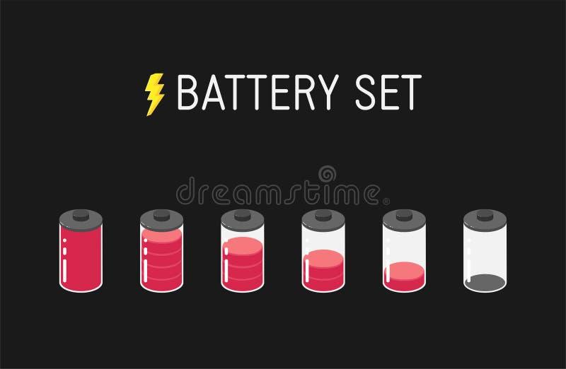 Ilustração da bateria do vetor Grupo de seis ícones vermelhos De completamente a vazio ilustração royalty free