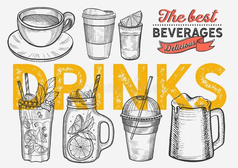 Ilustração da bebida - café, mojito, batido, cerveja, cocktail ilustração royalty free