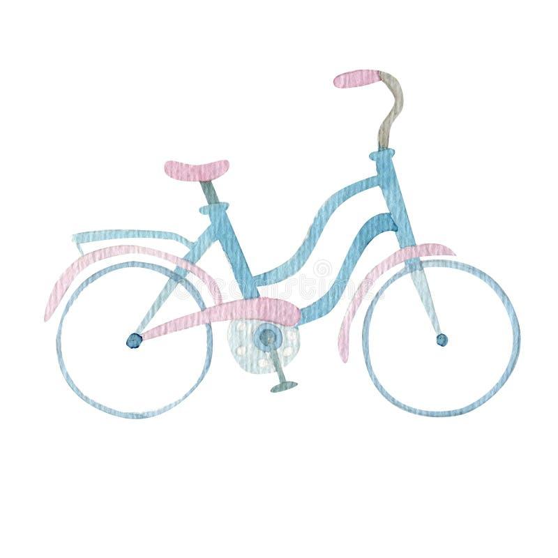 Ilustração da bicicleta do curso do verão da aquarela ilustração stock