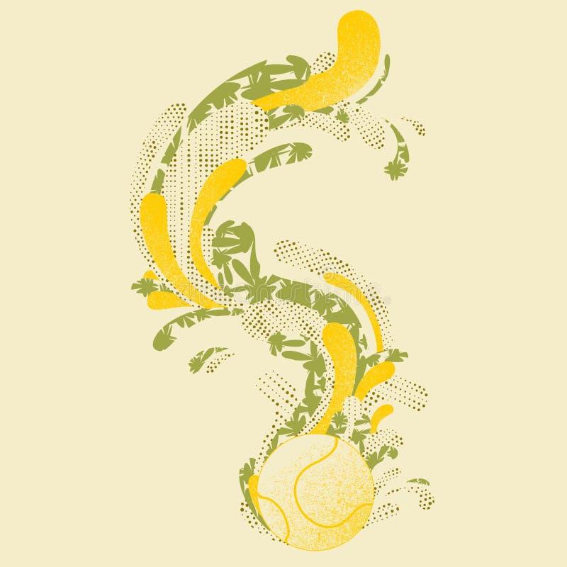 A ilustração da bola de tênis com gráficos arrasta e modela ilustração royalty free