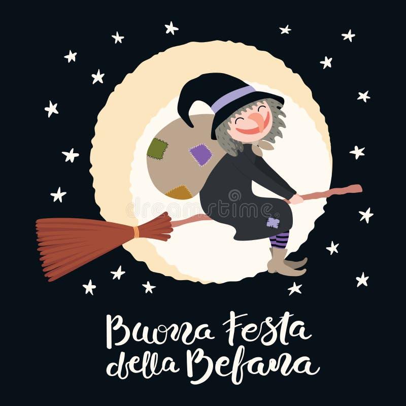 Ilustração da bruxa, citações do esmagamento no italiano ilustração royalty free