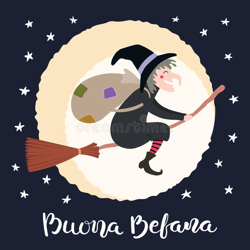 Ilustração da bruxa, citações do esmagamento no italiano ilustração stock