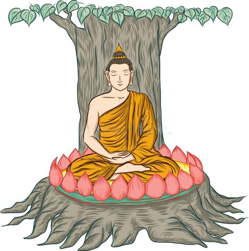 Ilustração da Buda, isolada no branco, a iluminação da Buda ilustração royalty free