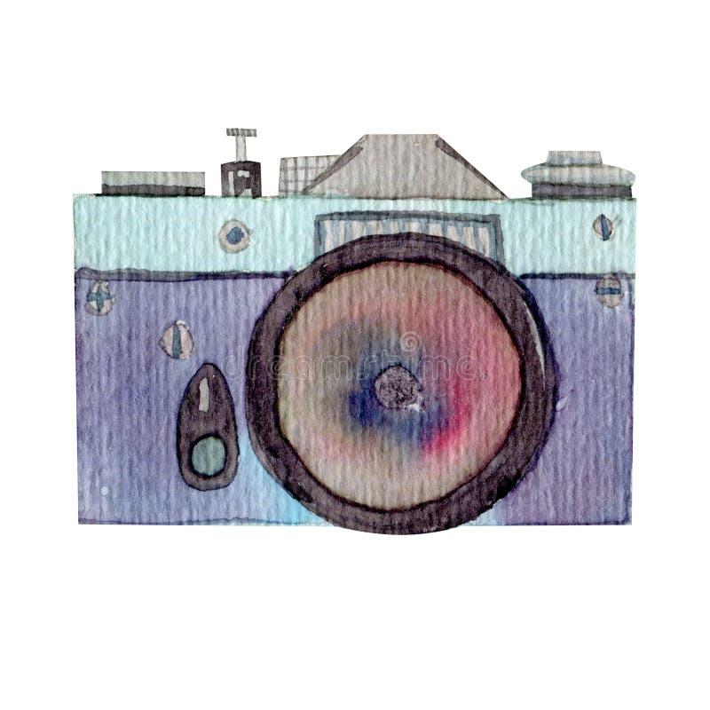Ilustração da câmera do curso do verão da aquarela ilustração royalty free