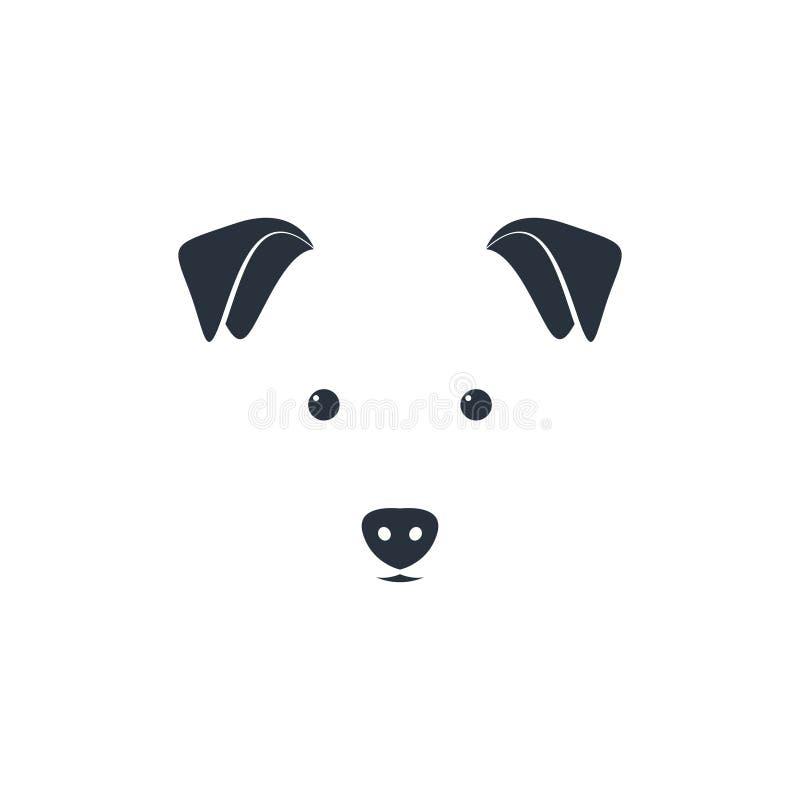 Ilustração da cabeça de cão bonito no fundo branco ilustração stock