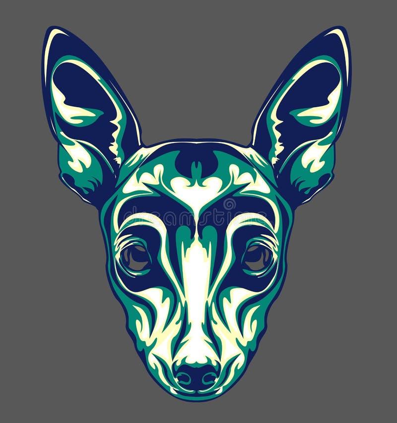 Ilustração da cabeça de cão com estilo do pop art fotografia de stock