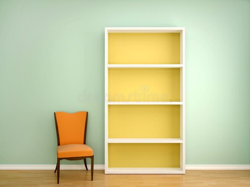 A ilustração da cadeira e abre as prateleiras vazias dos livros ilustração stock