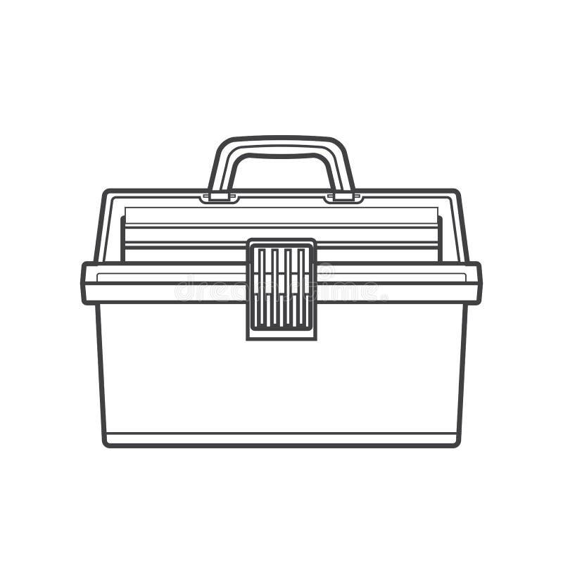Ilustração da caixa de equipamento de pesca do esboço ilustração royalty free