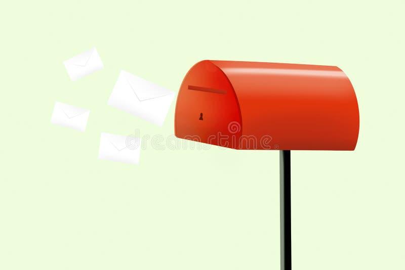 Ilustração da caixa postal no estilo liso Caixa postal vermelha aberta com envelopes ilustração do vetor