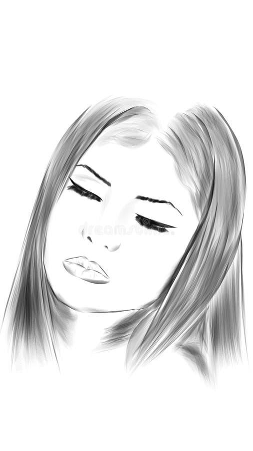 Ilustração da cara da mulher imagens de stock royalty free