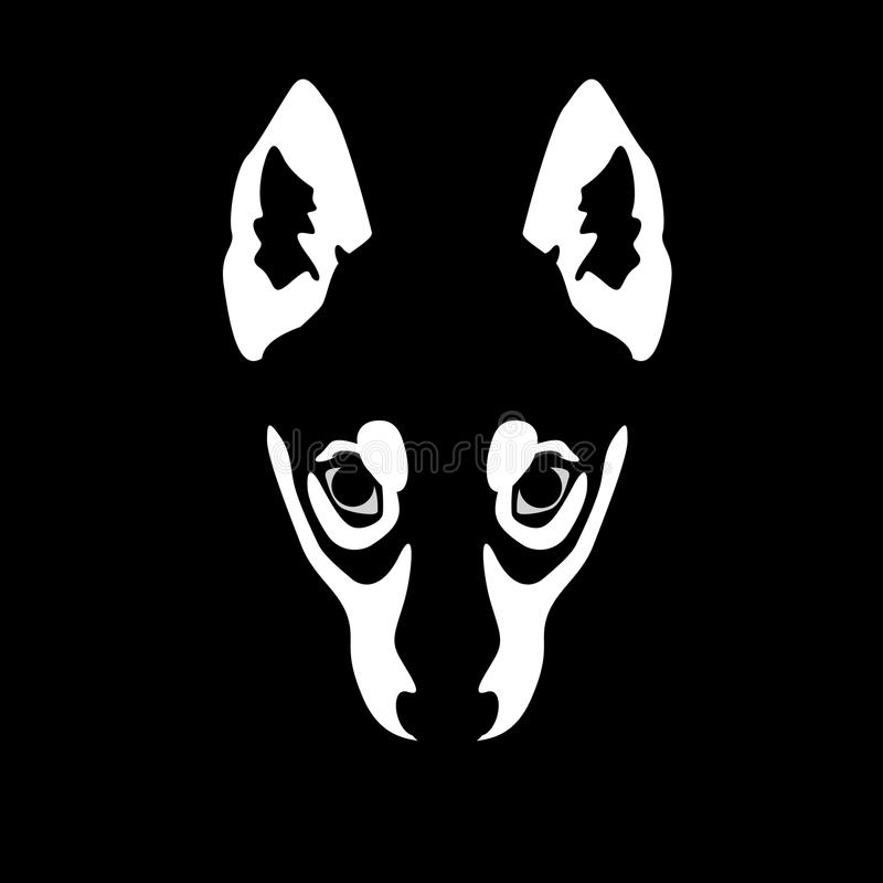 Ilustração da cara do lobo no fundo preto ilustração royalty free