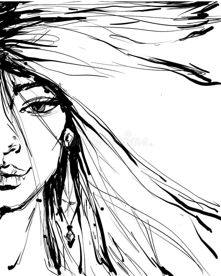 Ilustração da cara da mulher da beleza da forma do encanto Metade da cara fêmea com um olho e da composição no estilo da tinta Ti ilustração stock