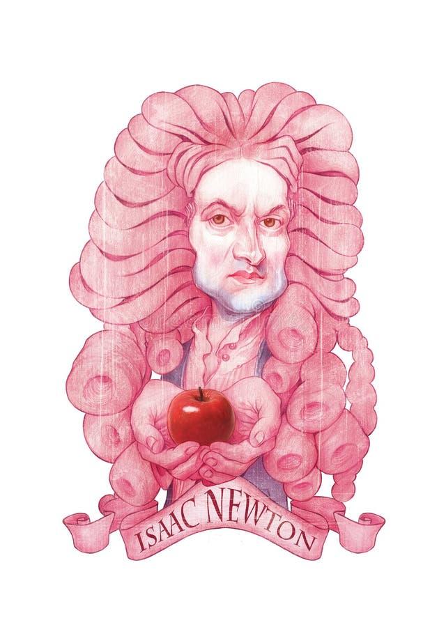 Ilustração da caricatura de Isaac Newton ilustração royalty free