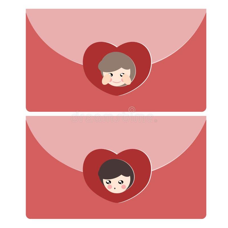 Ilustração da carta de amor ilustração royalty free