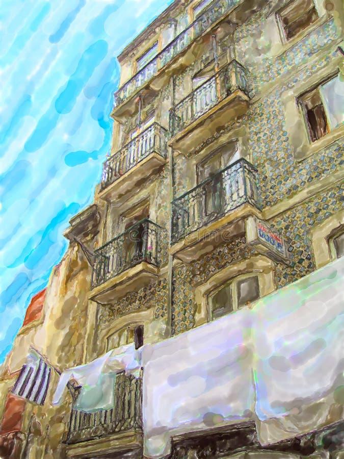 Ilustra??o da casa de Lisboa com a fachada da inclina??o do azulejo Roupa que pendura para secar no sol ilustração royalty free