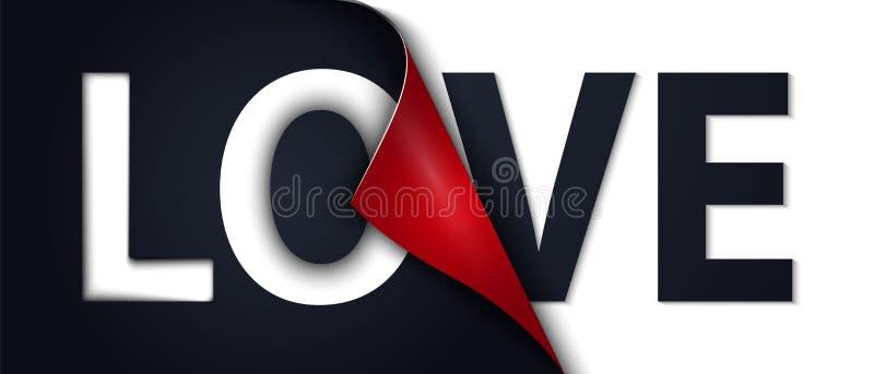 A ilustra??o da casca da etiqueta do amor fora envolveu a ?rea no papel ilustração stock