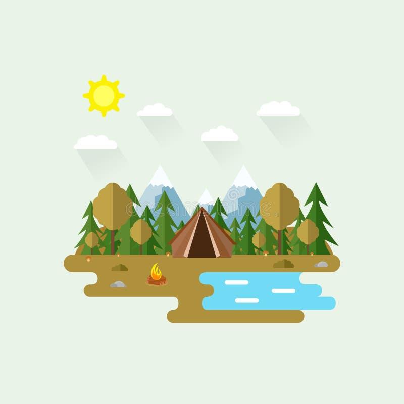 Ilustração da cena bonita da floresta Autumn Landscape no estilo liso Dia ensolarado Fundo Barraca, cogumelos, árvores, pedras, c ilustração stock