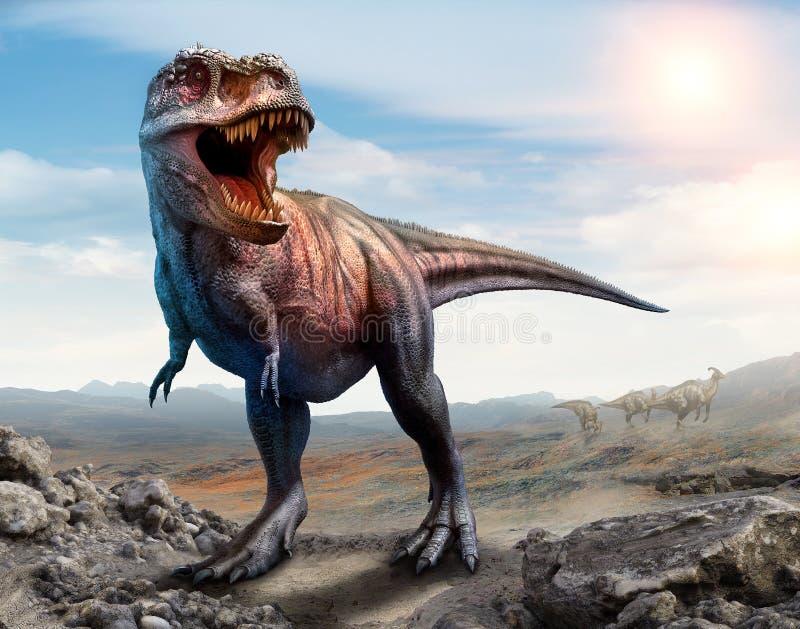 Ilustração da cena 3D do rex do tiranossauro ilustração royalty free