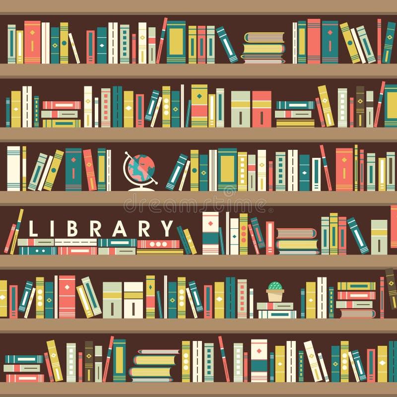 Ilustração da cena de biblioteca no projeto liso ilustração stock