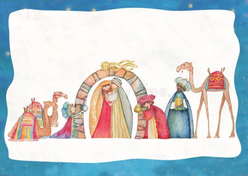 Ilustração da cena de Christian Christmas Nativity com os três homens sábios ilustração royalty free