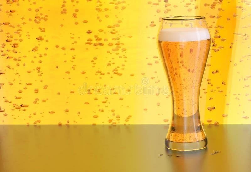 A ilustração da cerveja, esboço louro da cerveja inglesa em um vidro no amarelo borbulha fundo fotos de stock