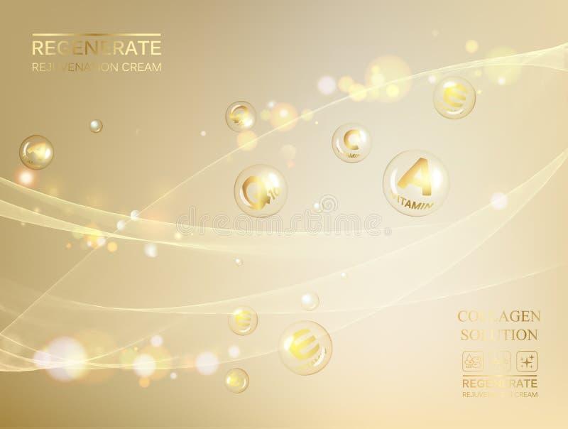 Ilustração da ciência de uma molécula de creme Conceito creme de cara e do complexo regenerados da vitamina Cosmético e pele orgâ ilustração royalty free