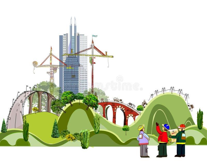 Ilustração da cidade com terreno de construção, coleção da cidade ilustração stock