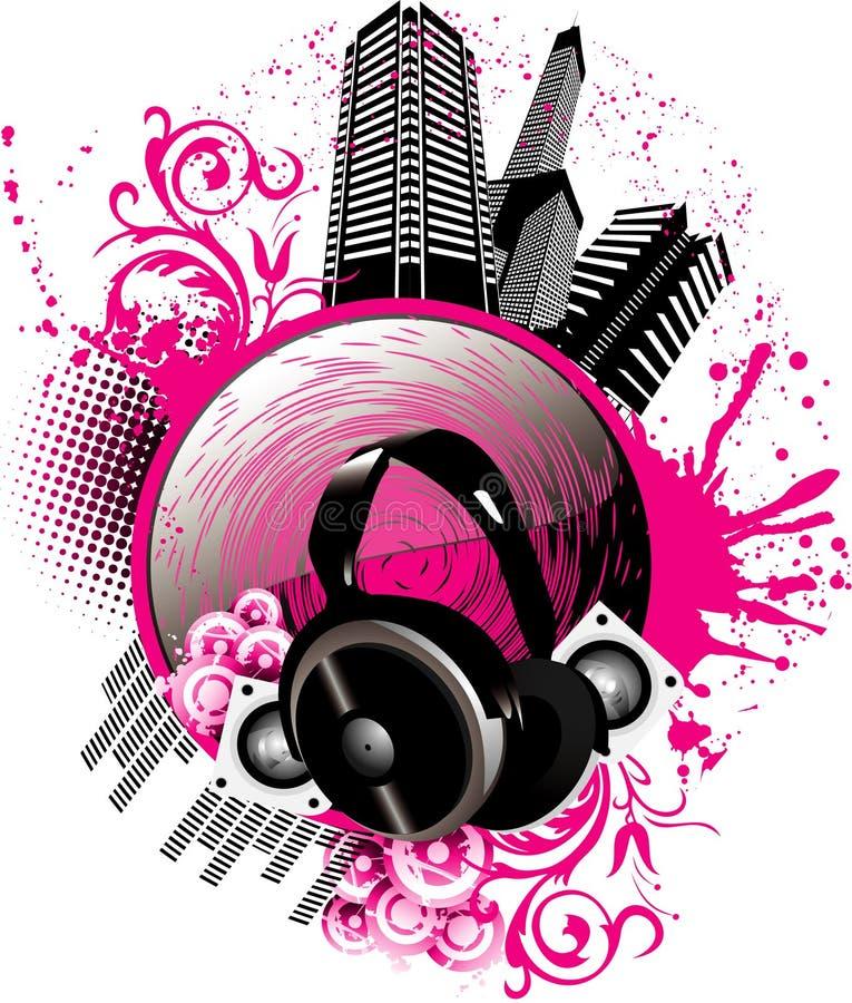 Ilustração da cidade da música do vetor ilustração royalty free