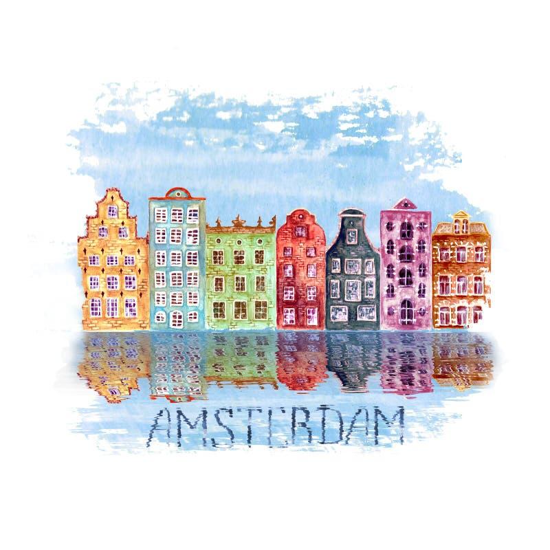 Ilustração da cidade de Amsterdão com as casas europeias velhas pintados à mão da aquarela e reflexões na água ilustração do vetor