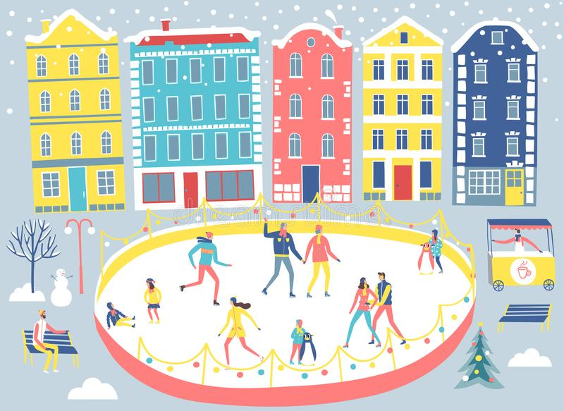 Ilustração da cidade e da pista de gelo ilustração royalty free
