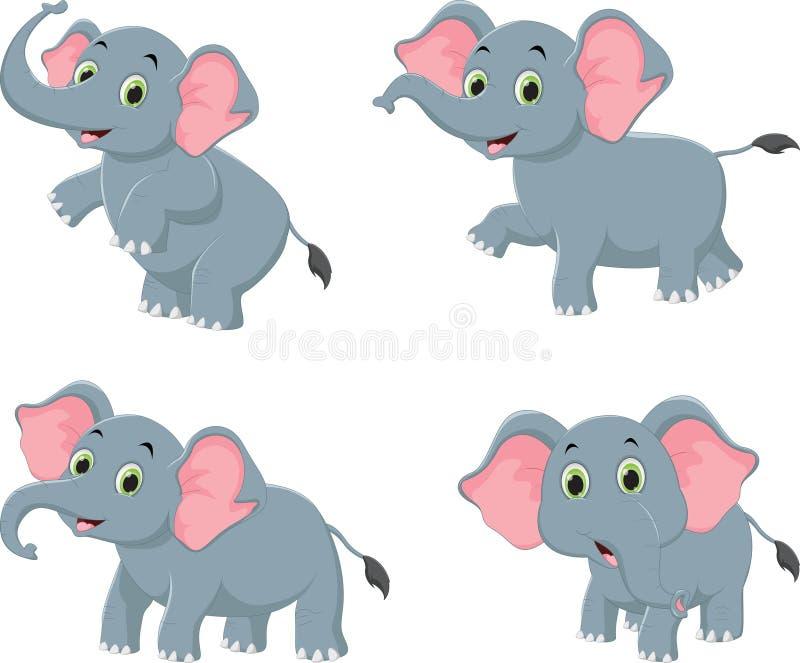 Ilustração da coleção bonito dos desenhos animados do elefante ilustração royalty free