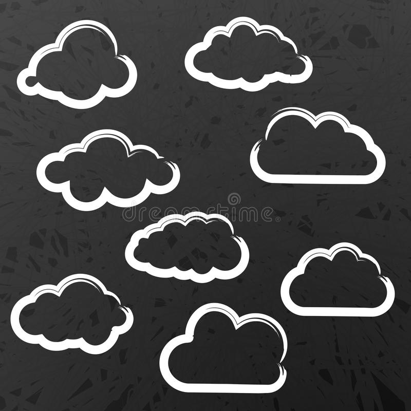 Ilustração da coleção das nuvens no quadro-negro da escola ilustração royalty free