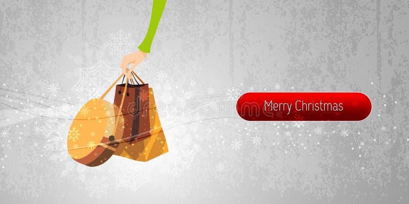 Ilustração da compra do Internet da bandeira do Natal ilustração stock