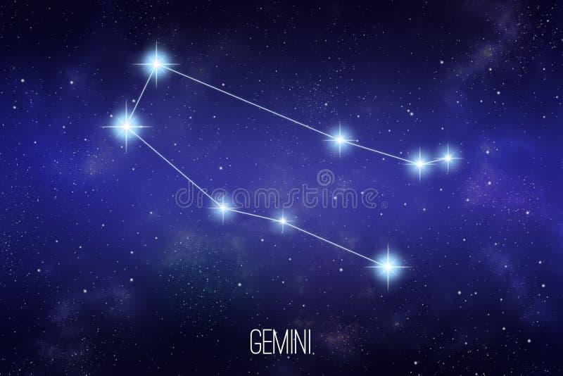 Ilustração da constelação do zodíaco dos Gêmeos ilustração do vetor